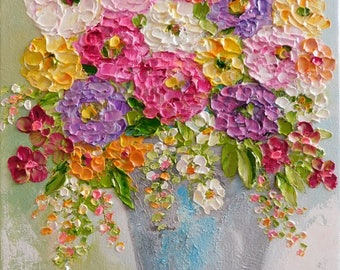 Custom Impasto Zinnia Flower Painting, Impasto Oil Painting, Summer Bouquet