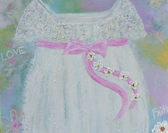 Children's Dress Painting, Oil and Mixed Media Dress Painting, Custom Painting,Nursery Painting