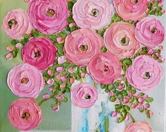 Custom Original Ranunculus  Impasto  Painting, Cottage Chic Painting,Impasto Floral painting