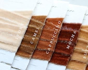 NEW Hand Dyed SILK VELVET Ribbon Raw Edge