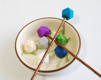 Knitting Needle Stoppers - knitting accessories - stitch holders - silicone bead cap - knitting notions - custom colors and quantity options