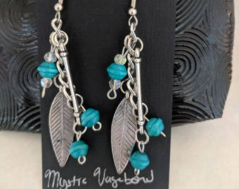 Feather earrings, Feather jewelry, Feathers, feather, hippie earrings, hippie jewelry, festival earrings, turquoise earrings, long earring,