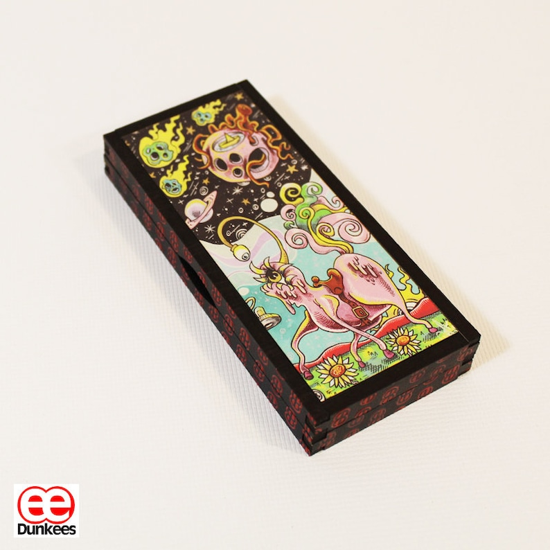 Wooden Case Holder for Pre-rolls Unique art Joint Holder Cannabis Case Weed by Dunkees One of a Kind