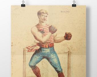 Boxing Print, Antique Illustration, Antique Prints, Boxing Poster, Boxing Gift, Boxer, Boxing Art, Wall Decor, Wall Prints, Vintage Prints