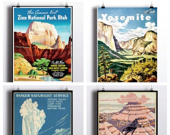 National Park Poster Set - Vintage Prints - Yosemite Print Grand Canyon Yellowstone National Park Zion National Park Wall Prints Travel