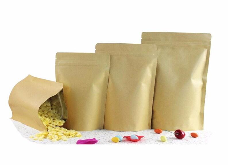 cddee06738 100 Count Wholesale Kraft Paper Bags Sealable Bag Brown Bags   Etsy