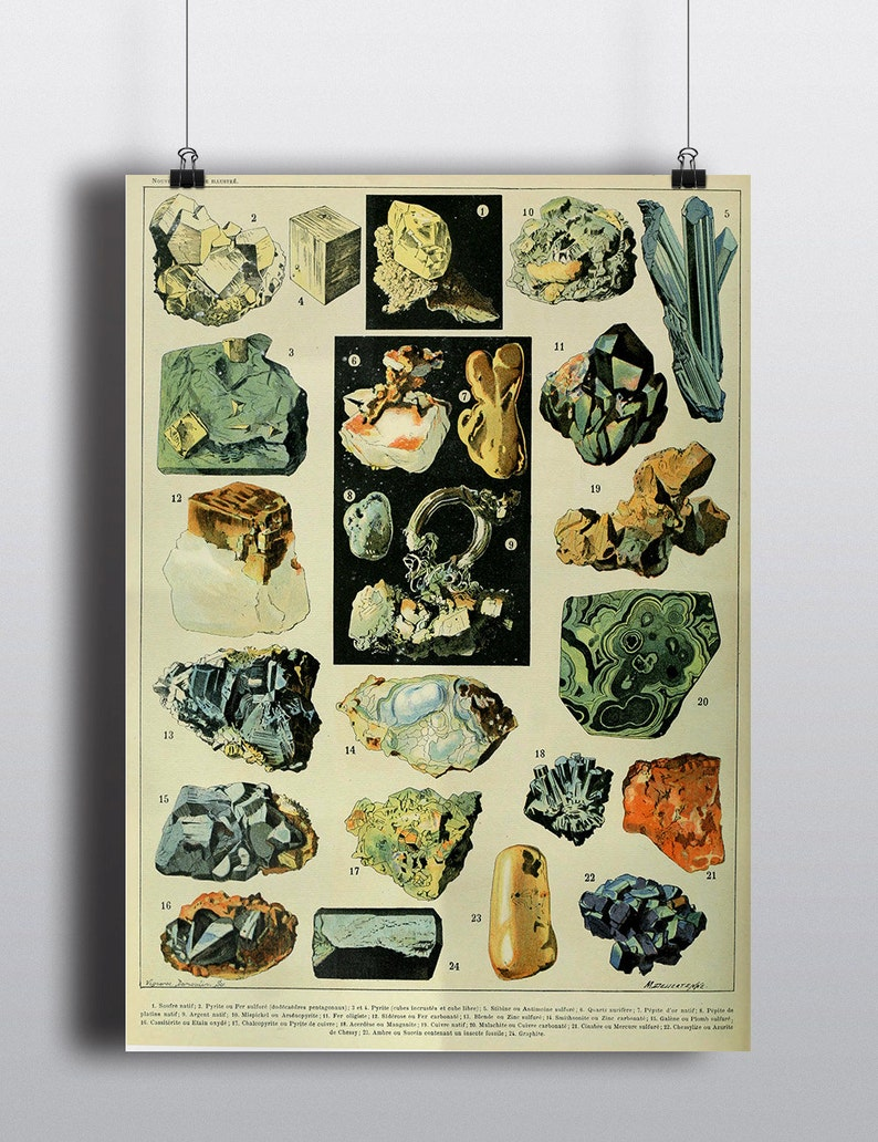 Gems Crystals Print Vintage Science Chart Art Print Old image 0
