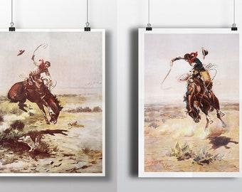 Cowboy Print, Western Decor, Desert Decor, Wall Art, Art Print, Southwestern, Charles Russell, Americana, Rustic Decor, Large Prints