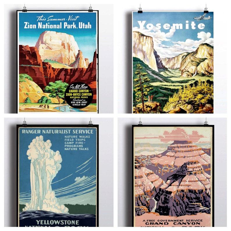 National Park Poster Set  Vintage Prints  Yosemite Print image 0