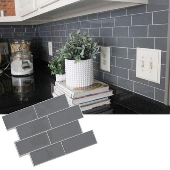 Self Adhesive Tile Wallpaper Gray Brick Subway Tile Sticker Removable  Wallpaper Kitchen Backsplash Home Decor Modern - FREE SHIPPING