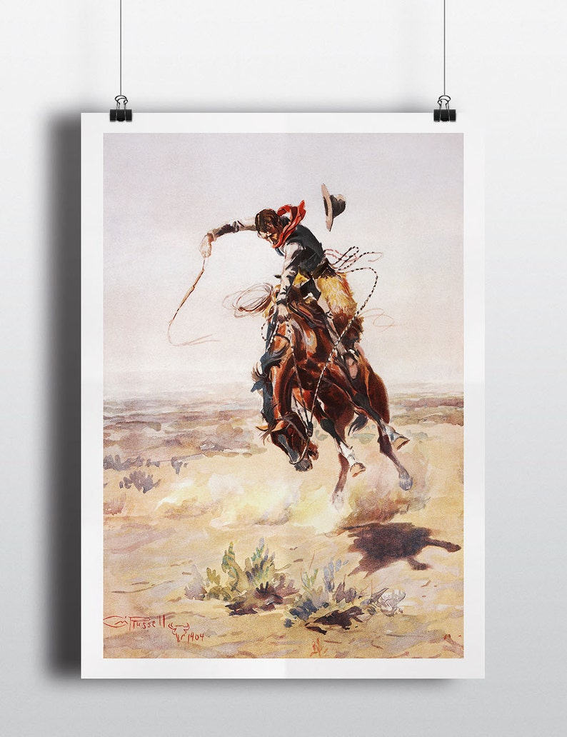 Antique Southwestern Decor Painting Charles Russell Print image 0