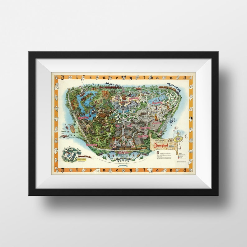 picture regarding Printable Disney Maps known as Classic Disneyland Map Weighty Poster Print Hefty Disney Disneyland Poster 1950s Disneyana Superior Wall Artwork Concept Park Map Artwork Print 16x20