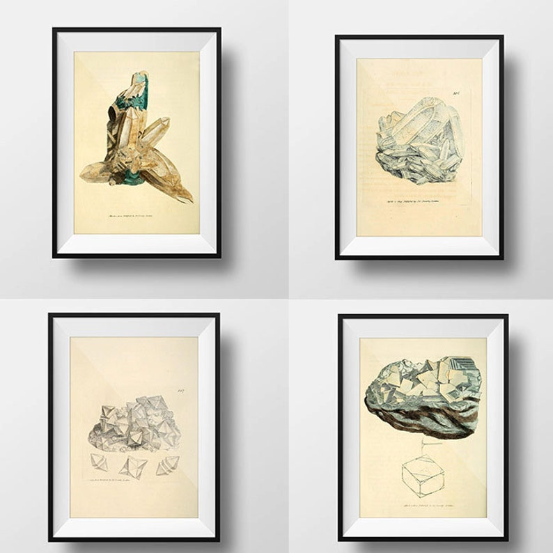 Antique Minerals Art Print Set of 4 Crystal Print 11x14 Gems image 0