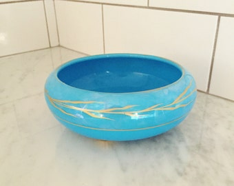 Turquoise Glass Bowl, Blue Gold Bowl, Robins Egg Blue, Art Deco Glass Bowl, Footed Bowl, Decorative Bowl