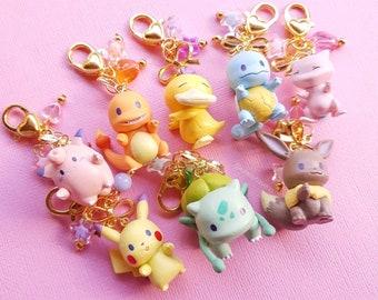 Cute Kawaii Mini Poke Gen 1 Phone Bag Purse Keyring Keychain Charm