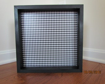 Wooden Decorative Tray - Black & White Houndstooth