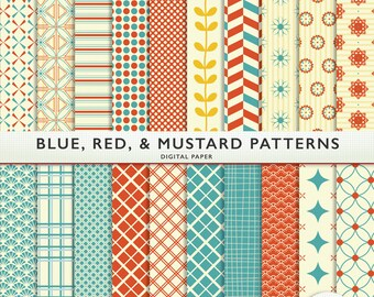 Digital Paper - Blue Mustard Red Patterns - Scrapbooking Personal Commercial G7003