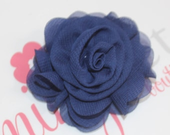 Navy Chiffon Rose Flower Clip