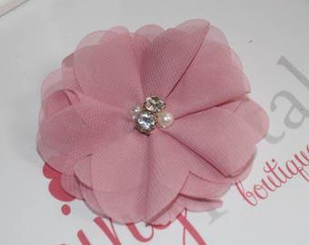 Dusty Rose Chiffon Rhinestone/Pearl Flower Clip