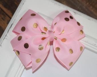Pink and Gold Metallic Dot Large Pinwheel Bow