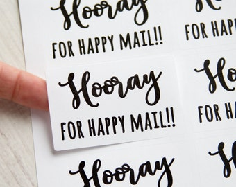 Happy Mail Stickers - Hooray for Happy Mail - Happy Mail Labels - 18 Pieces