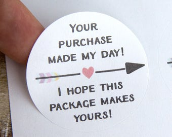 Your purchase made my day - Small Business Packaging - Thank You Labels - Happy Mail Stickers - Thank You Stickers - 30 Pieces - 1.5 Inches