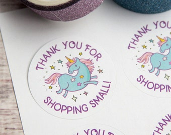 Thank you for the Shopping Small - Unicorn Stickers - Unicorn Labels - Packaging - 1.5 inches - 30 pieces