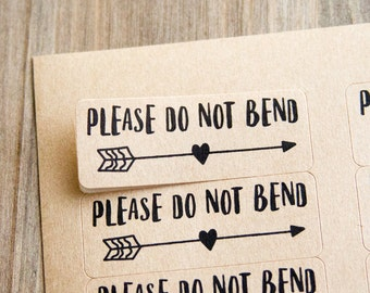 Please do not bend - Small Business Packaging - Card Packaging - Prints Packaging - Stickers - Labels - 60 Pieces