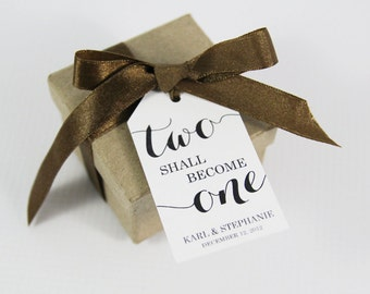 Two shall become One - Wedding Favor Tags - Wedding Favor - Wedding Tags - Custom Tags - Personalized Tags - Party Favors - MEDIUM