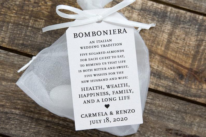Bomboniera Favor Tags  Italian Wedding Favor Tags  Jordan image 0
