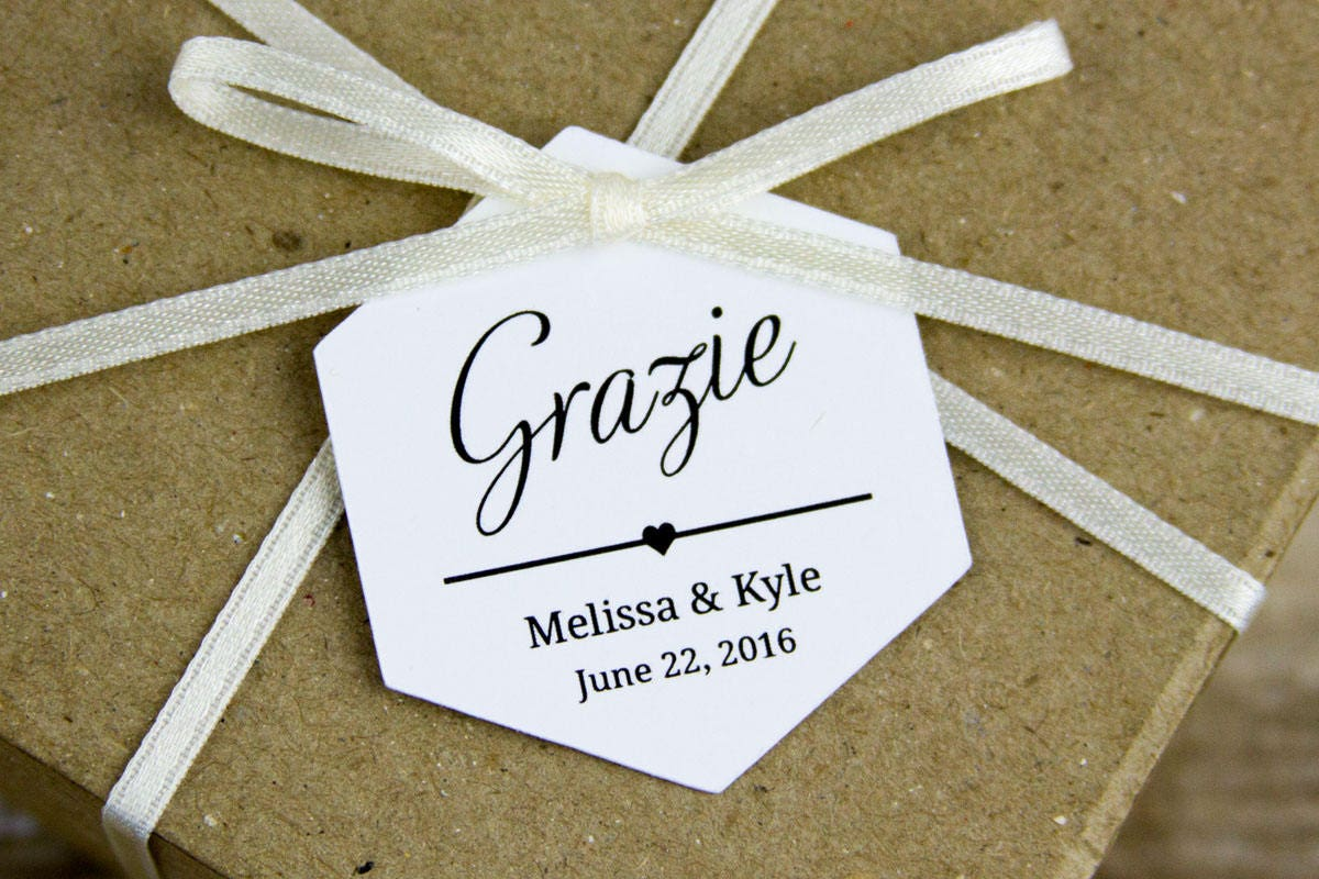 Grazie Tags Thank You tags Italian Wedding Wedding