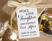 Peace Love Laughter and Happily Ever After - Wedding Favor Tags - Holiday Wedding - Christmas Wedding - Christmas Gift Tags - MEDIUM
