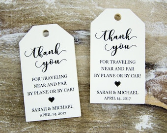 Thank You Tag - Wedding Favor Tag - Luggage Favor Tag - Wedding Favor - Custom Tags - Destination Wedding - SMALL 2 x 1.1 inch