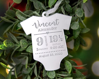 Baby Stats Ornament - Personalized Baby Ornament - Baby's First Christmas Ornament - Newborn Ornament - Baby Ornament - Birth - Newborn
