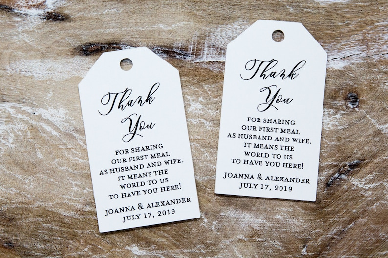Wedding Favor Tag  Thank you for sharing our first meal  image 0