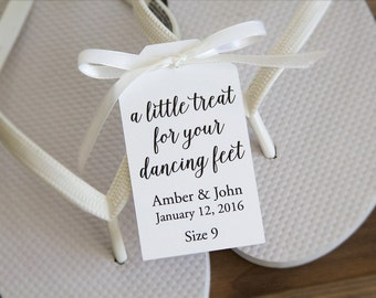 A little treat for your dancing feet - Flip Flop Tags - Slipper tags - Wedding Shoes - Dancing Shoes - Wedding Favor - MEDIUM
