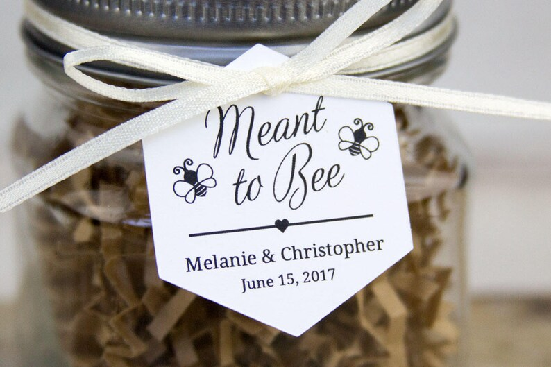 Meant to Bee Tag  Hexagon Tag  Honey Wedding Favor Tags  image 0