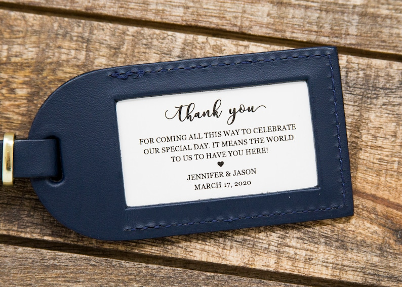 Thank You Wedding Favor Luggage Tag Inserts  Wedding Favor image 0