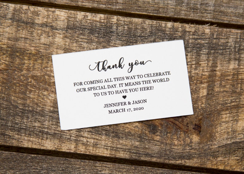 Thank You Wedding Favor Luggage Tag Inserts Wedding Favor Tags Destination Wedding Favor Tags Inserts for Leather Luggage Tags