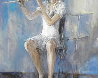 Original Acrylic Painting, Figurative, Expressionism, Flute Concerto in G Minor, 40 x 30, acrylic on canvas, by Grigor Malinov