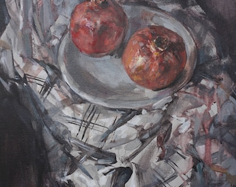 "Original Art, Affordable, Acrylic Painting, Still Life, Expressionistic Realism ""Pomegranates"", 18 x 14, acrylic on canvas by Grigor Malinov"
