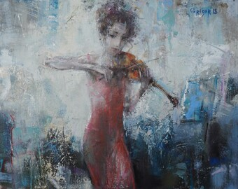 "Original Art, Expressionism, Oil, Musician, Violin, ""In Red"", 11 x 14 (16 x 19 framed), oil on canvas, by Grigor Malinov"