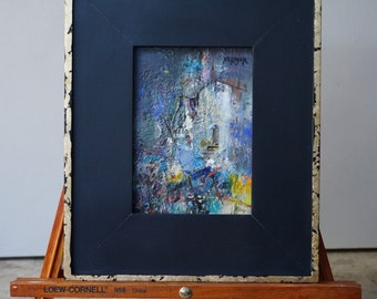"Original Oil Painting, Miniature, Abstract, Cityscape, ""This is Where I will Stay"", 7""x 5"" (12""x10"" framed), oil on panel, by Grigor Malinov"