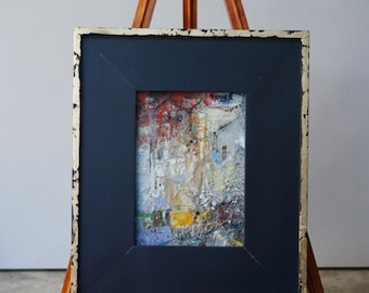 "Original Oil Painting, Miniature, Abstract, Cityscape,  ""This is Where I will Go"", oil on panel, 7"" x5"" ( 12""x10"" framed), by Grigor Malinov"
