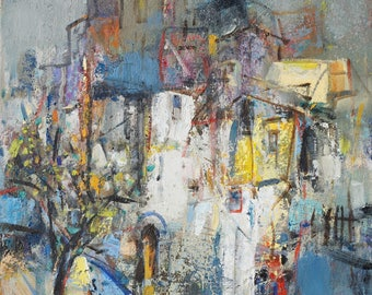"Original Art, Oil Painting, Cityscape, Expressionism, ""San Francisco Vicinity"", 16 x 12, oil on canvas, by Grigor Malinov"