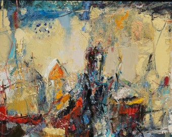 "Original Oil Painting, Abstract, Figurative Composition, The Annunciation, 10""x 21"", oil on wood panel, by Grigor Malinov"