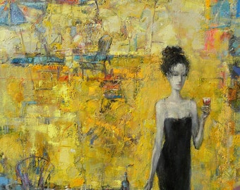 "Original Oil Painting, Expressionistic Realism, Figure, Female, Summer Cocktail, 24"" x 24"" oil on canvas, by Grigor Malinov"