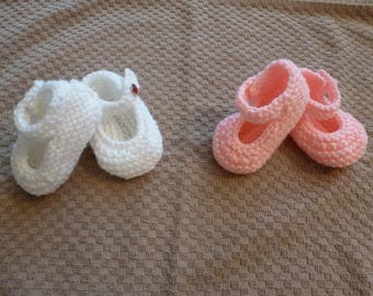 Mary Jane Baby Booties - Knitted