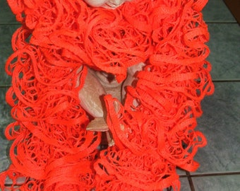 Ruffle scarf - orange - nets - handmade