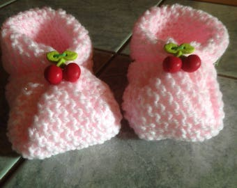 Pair of booties pink with light shiny - size 10 cm 0/3 months - hand made